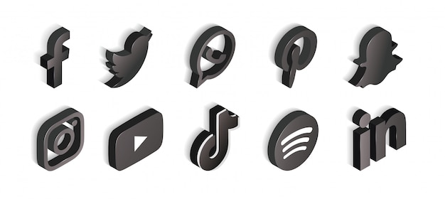 Social media set of black and white icons isometric Free Vector