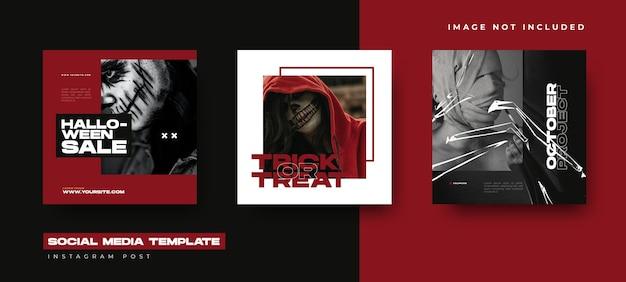 Social media set design template for halloween event. instagram post design Premium Vector