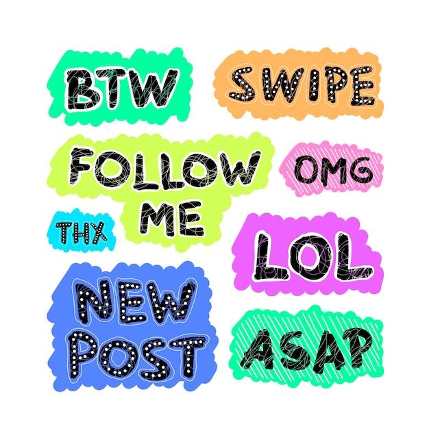 ソーシャルメディアの俗語バブルセットのテーマ 無料ベクター