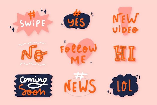 Social media slang bubbles collection Free Vector