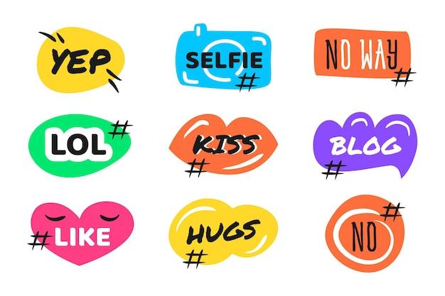 Социальные медиа сленговые пузыри Бесплатные векторы