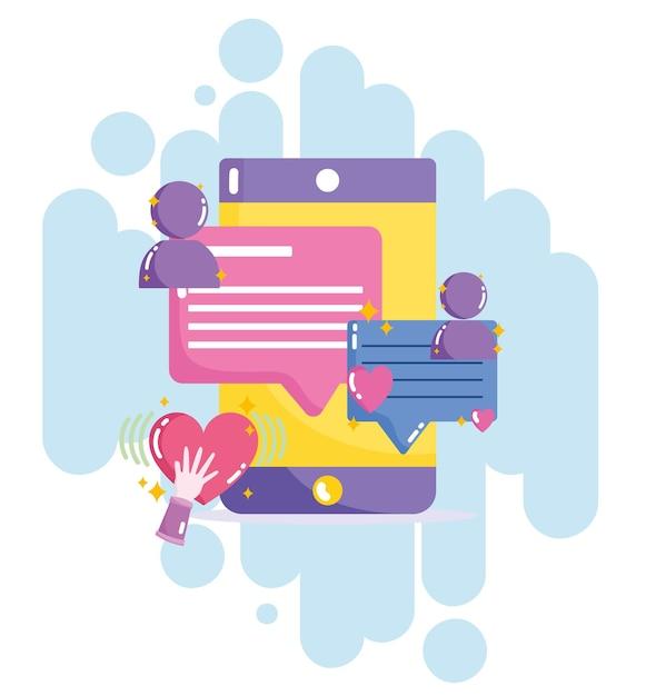 ソーシャルメディアスマートフォンメッセージチャットテキスト接続イラスト Premiumベクター