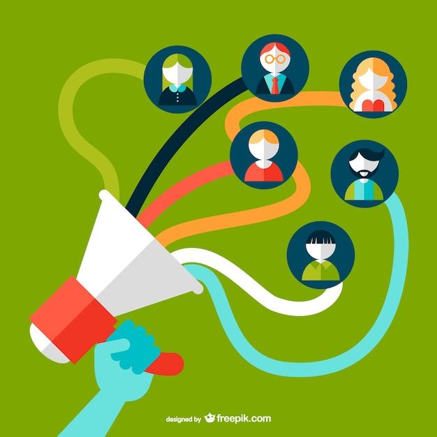 Social media speaking-tube concept vector Free Vector