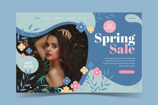 Social media spring sale template Free Vector