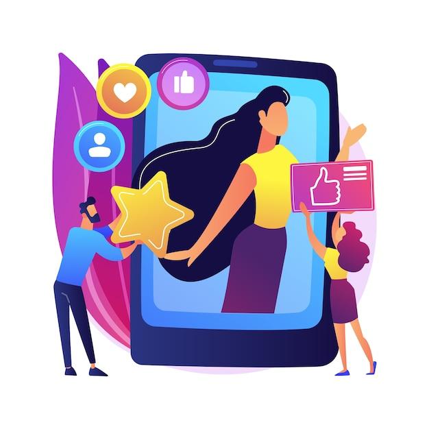 Illustrazione di concetto astratto stella di media sociali. influencer, copertura e coinvolgimento sui social media, monetizzazione di account di celebrità, blog personale, creazione di contenuti da star. Vettore gratuito