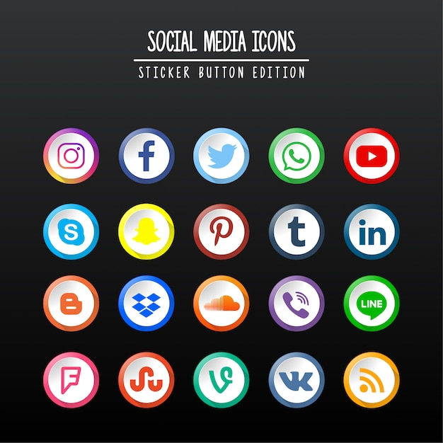 Social media sticker button edition Premium векторы