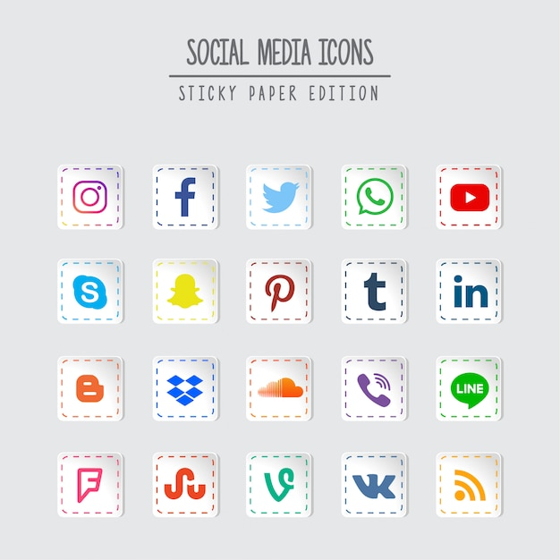 Social media sticky paper edition Premium Vector