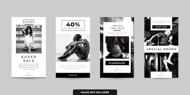 Social media stories banner templates set Premium Vector