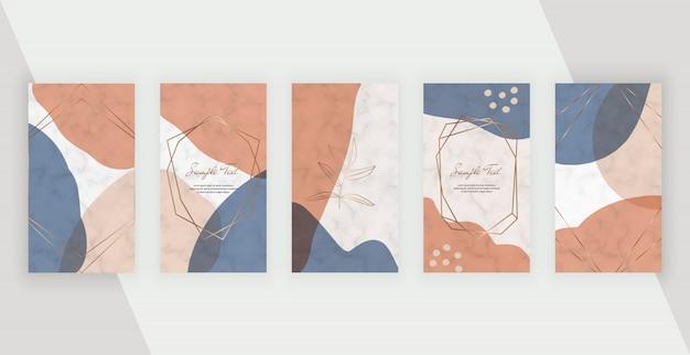ソーシャルメディアストーリーバナーの抽象的な幾何学的なデザインとピンク、茶色、青の色の手描きの図形、polygonaラインフレーム。 Premiumベクター