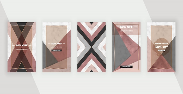 Social media stories banners with geometric design with pink, brown foil shapes. Premium Vector