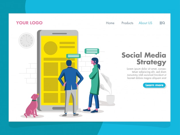 Social media strategy illustration for landing page Premium Vector
