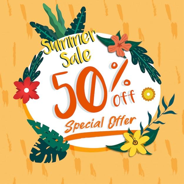 Social media summer sale banner discount promotion circle template Premium Vector