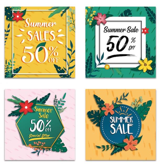 Social media summer sale banner discount promotion template Premium Vector