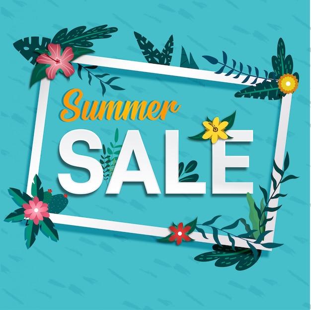 Social media summer sale tropical banner design Premium Vector