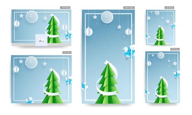 ソーシャルメディアテンプレートと紙入りポスターは、クリスマスツリー、壁時計、ギフトボックス、つまらないものをぶら下げ、青の背景に飾られた星をカットしました。 Premiumベクター