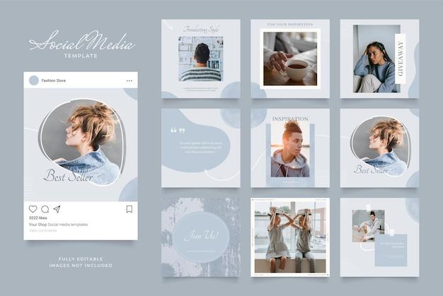 Шаблон для социальных сетей, баннер, блог, продвижение продажи моды. полностью редактируемый квадратный пост кадр головоломка органический плакат продажи. синий темно серый векторный фон Premium векторы