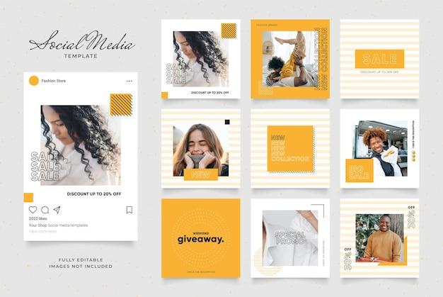 Шаблон для социальных сетей, баннер, блог, продвижение продажи моды. Premium векторы