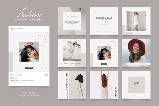 ソーシャルメディアテンプレートバナーファッション販売促進。完全に編集可能なinstagramとfacebookの正方形のポストフレームパズルオーガニックセールブラウングレーホワイト Premiumベクター
