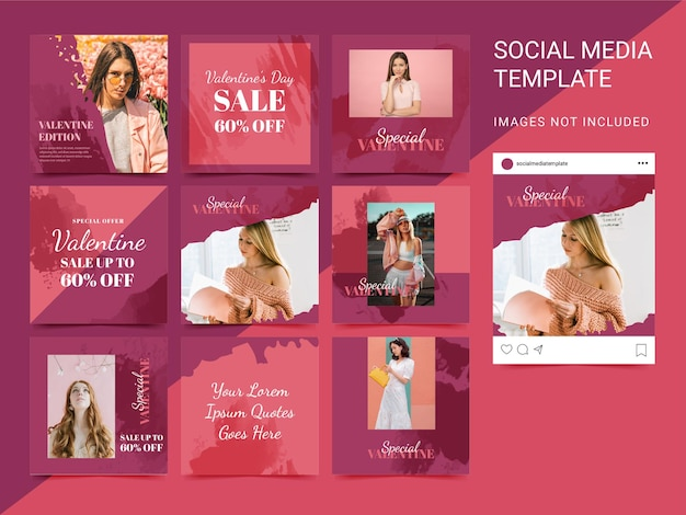 Social media template set puzzle with watercolor element valentine edition. modern style. Premium Vector