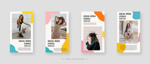 Social media template. trendy editable social media stories template. Premium Vector