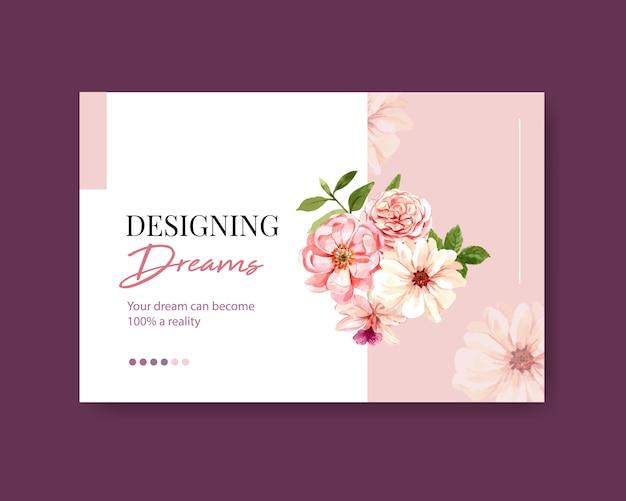 Шаблон социальных медиа с летней цветочной концепцией дизайна акварелью Бесплатные векторы