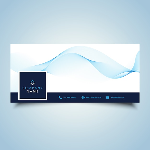 Social media timeline cover with flowing waves design 0805 Free Vector