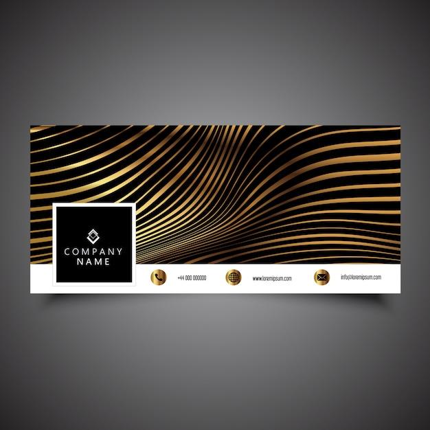 ゴールドストライプデザインのソーシャルメディアタイムラインカバー 無料ベクター