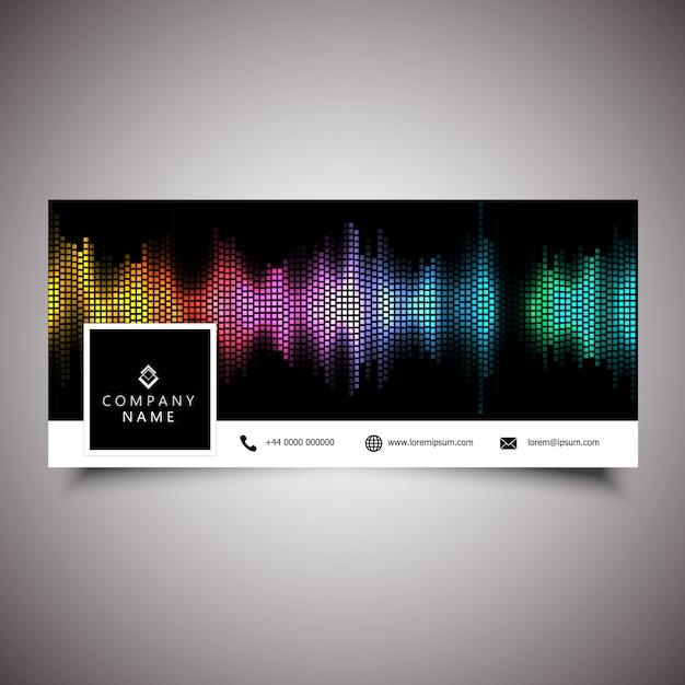 音波デザインのソーシャルメディアタイムラインカバー 無料ベクター