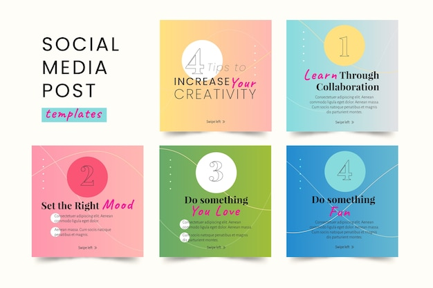 Social media tips instagram post collection Free Vector