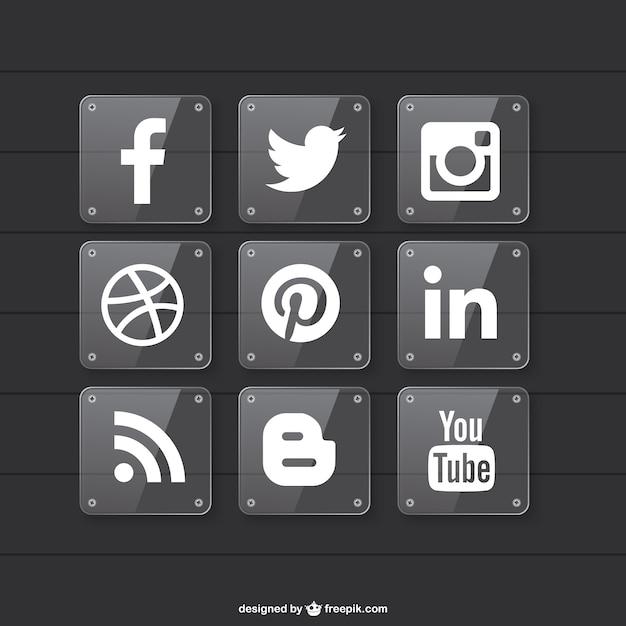 Социальные медиа прозрачный дизайн материал Бесплатные векторы