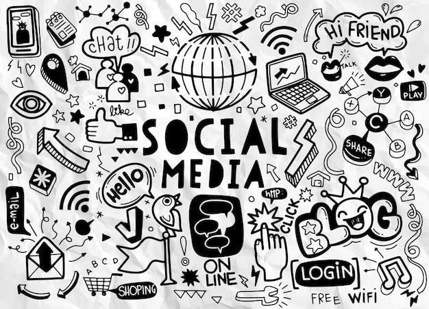 ソーシャルメディアベクトル落書き。、ベクトル線画ソーシャルメディアテーマのオブジェクトとシンボルの落書き漫画セット Premiumベクター
