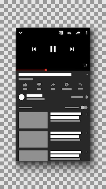 Social media video player mobile phone ui interface Vector