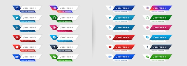 Social media web lower third banners icons set Free Vector