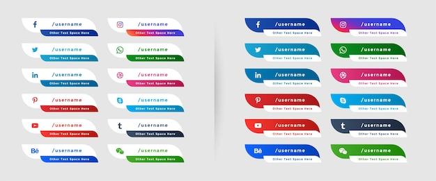 Набор баннеров нижней трети для социальных сетей Бесплатные векторы