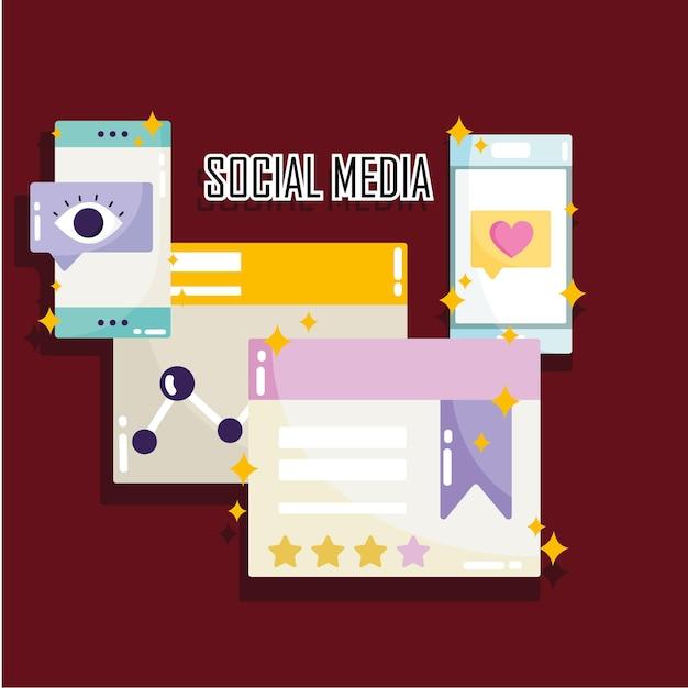ソーシャルメディアのウェブサイト共有コンテンツ情報デジタル技術イラスト Premiumベクター