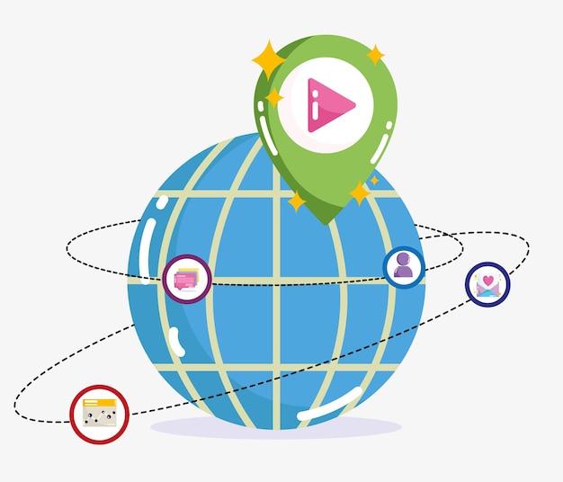 ソーシャルメディア世界接続バイラルコンテンツ技術イラスト Premiumベクター