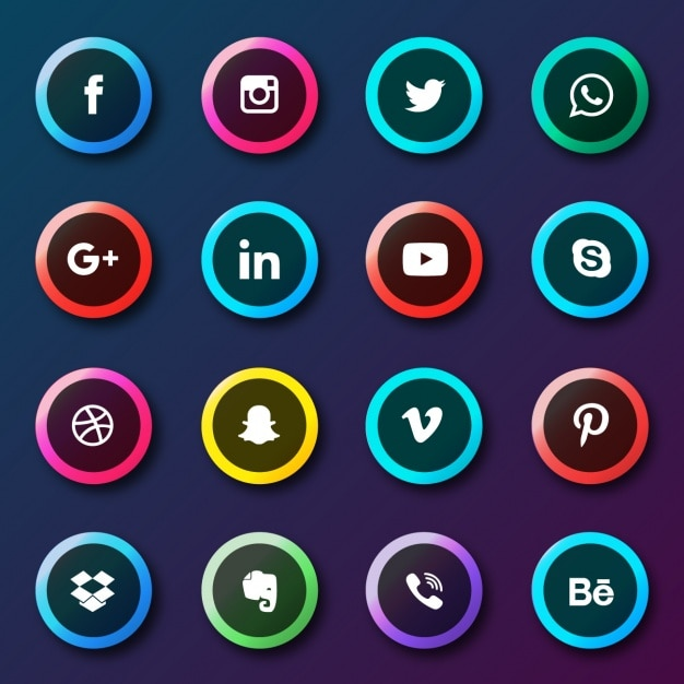 Social network buttons collection Free Vector