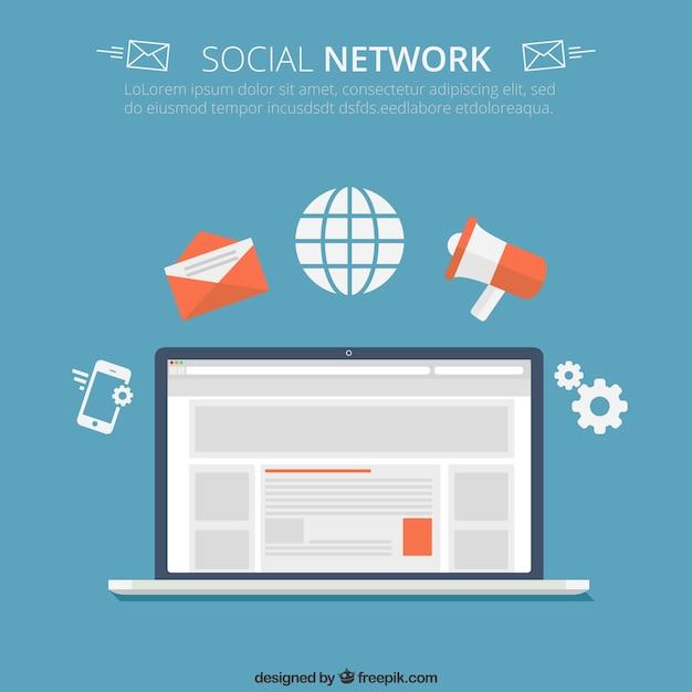 ソーシャルネットワークの概念 無料ベクター