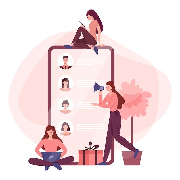 ソーシャルネットワークの概念 Premiumベクター