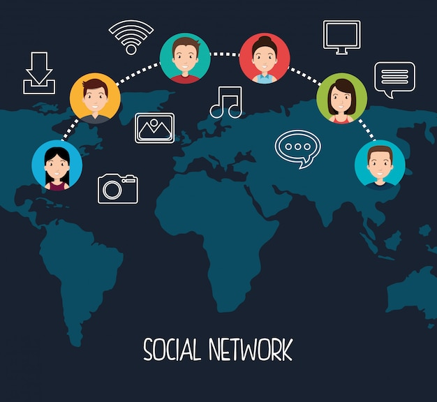 Social network design Free Vector