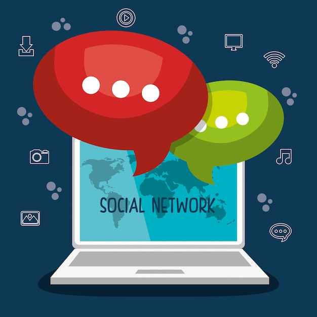 Social network design Free Vector