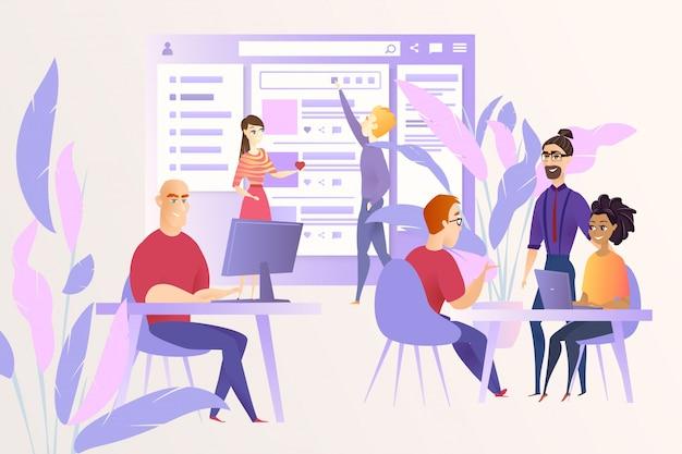 Social network development cartoon vector concept Premium Vector