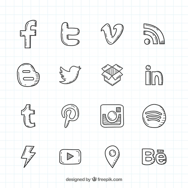 social network hand drawn logos collection vector free download