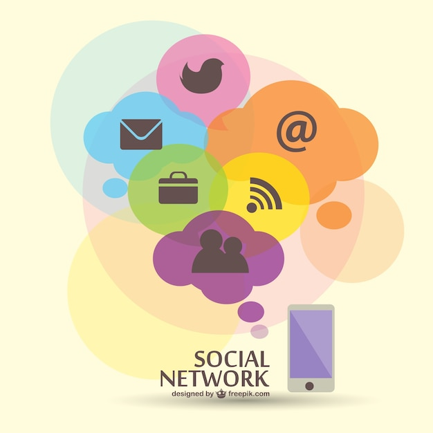 Social network icons in colorful clouds Free Vector
