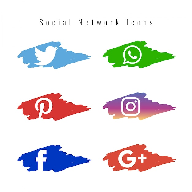 Social network icons set with paint brushes Free Vector