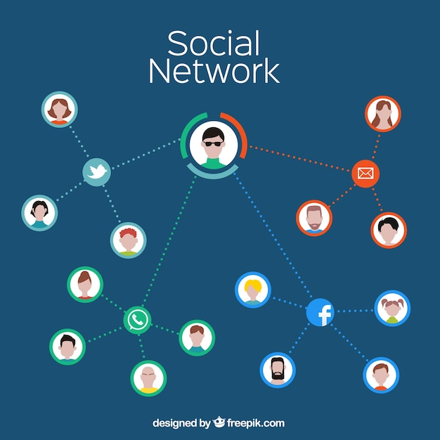 Social network infographic Free Vector