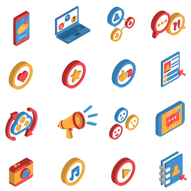 Social network isometric icon set Free Vector