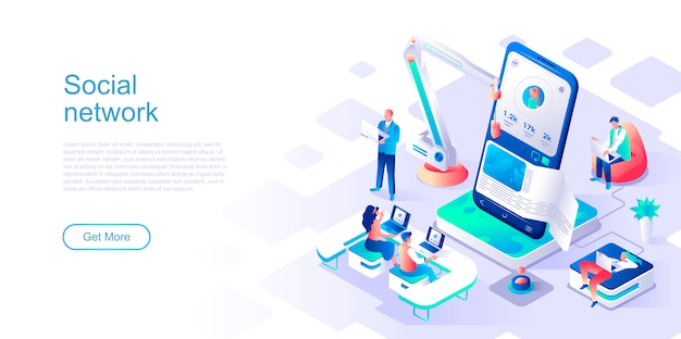 Social network isometric landing page vector template. Premium Vector