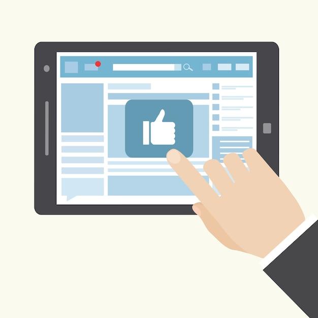 Социальная сеть как значок на планшете Бесплатные векторы