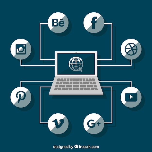 Social network logos with laptop Free Vector